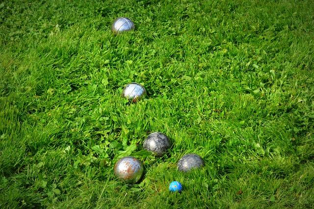 Petanque Balls on Lawn